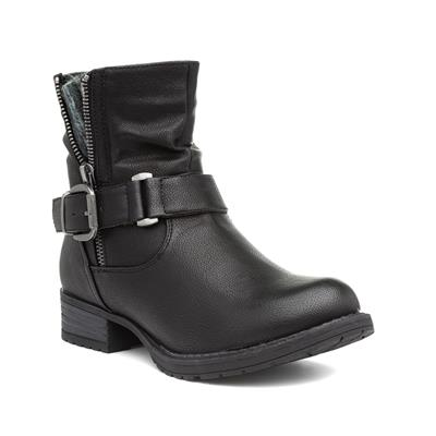 Womens Buckled Black Ankle Boot
