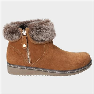 Womens Penny Zip Ankle Boot in Tan