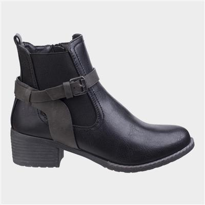 Womens Ivana Block Heel Ankle Boot in Black
