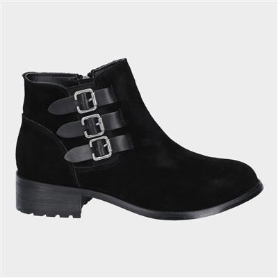 Womens Lexi Slip On Buckle Boot in Black