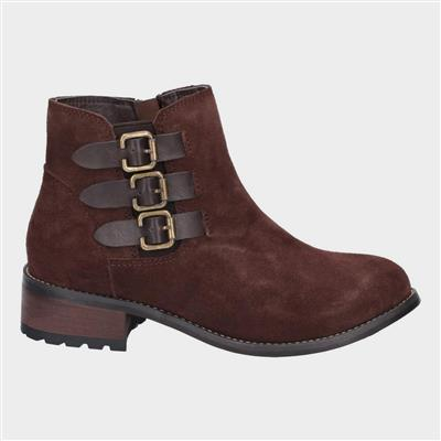 Womens Lexi Slip On Buckle Boot in Brown