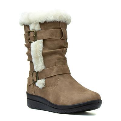 Womens Tan Faux Fur Calf Boot