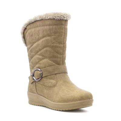 Womens Brown Quilted Pull On Calf Boot