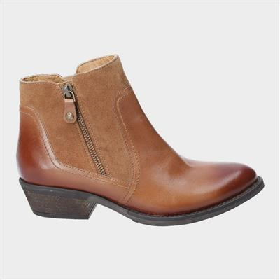 Womens Isla Leather Ankle Boot in Tan