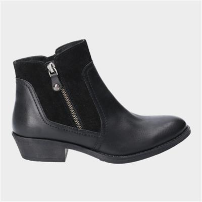 Womens Isla Leather Boot in Black