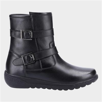 Zambia Womens Black Buckle Boot