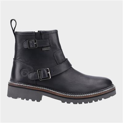 Womens Combe Leather Ankle Boot in Black