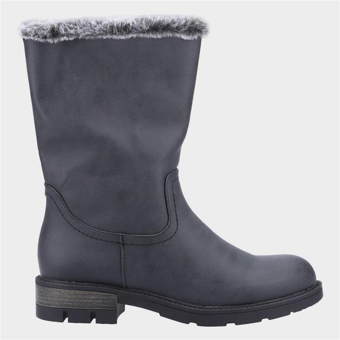 Vintage Winter Retro Boots – Snow, Rain, Cold Divaz Nadia Womens Faux Fur Lined Boot in Black £39.99 AT vintagedancer.com
