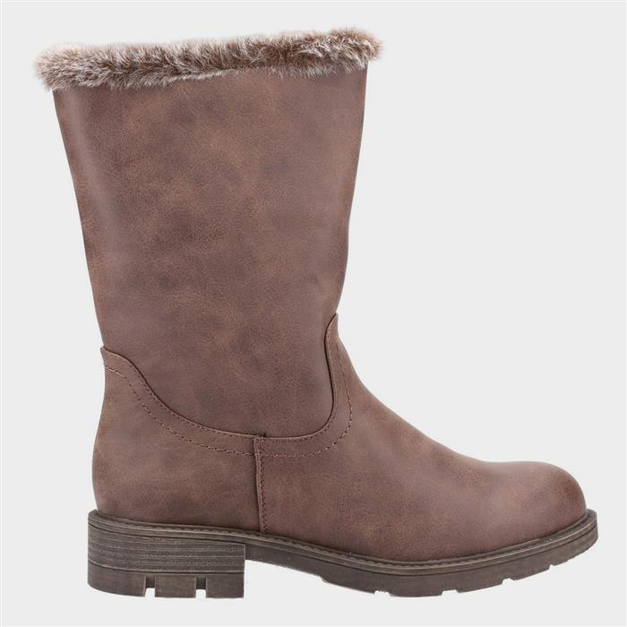 Vintage Winter Retro Boots – Snow, Rain, Cold Divaz Nadia Womens Faux Fur Lined Boot in Brown £39.99 AT vintagedancer.com
