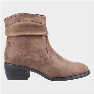 Adele Womens Western Ankle Boot in Tan