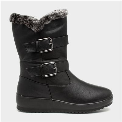 Womens Black Faux Fur Lined Calf Boot