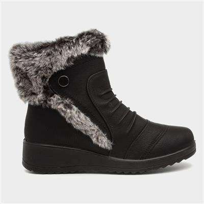 Womens Black Faux Fur Trim Ankle Boot