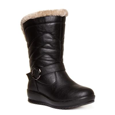 Womens Black Quilted Pull On Calf Boot