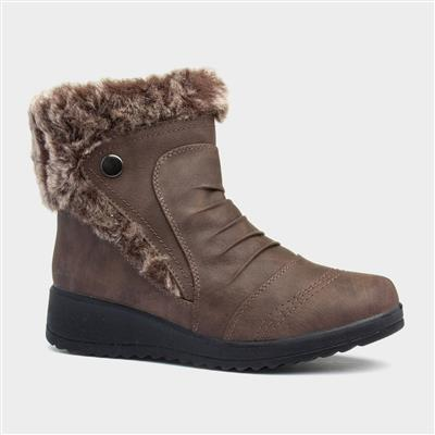 Womens Brown Pleated Zip Up Ankle Boot