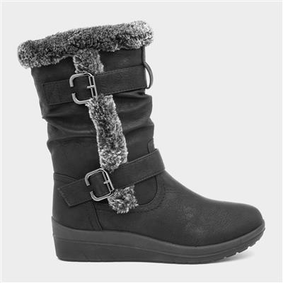 Womens Faux Fur Casual Boot in Black