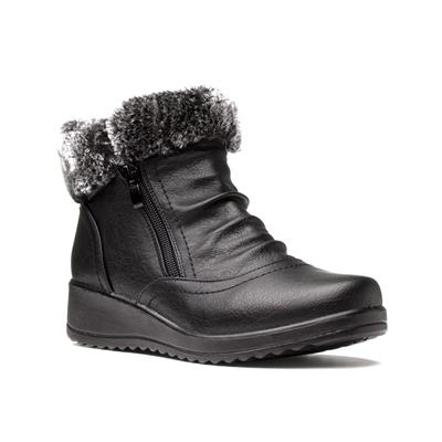 Womens Black Faux Fur Boot