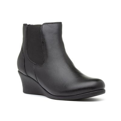 Selena Womens Black Wedge Ankle Boot