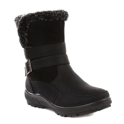 Womens Black Buckle Detail Boot