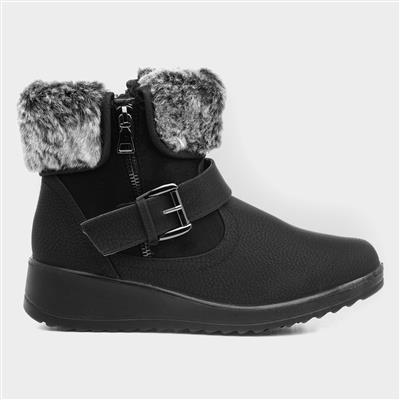 Womens Black Faux Fur Ankle Boots