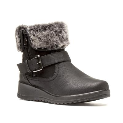 Womens Black Faux Fur Ankle Boots