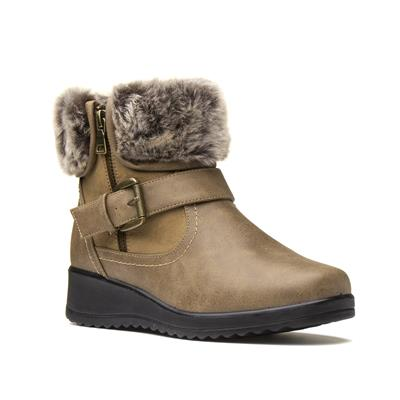 Womens Brown Faux Fur Ankle Boots