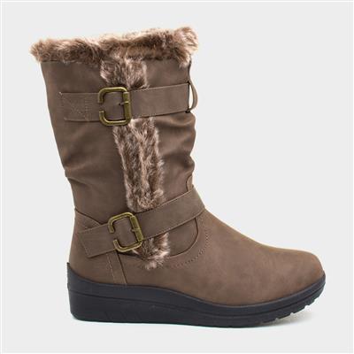Womens Brown Faux Fur Calf Boot