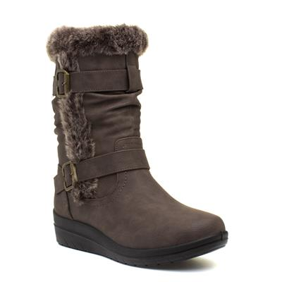 Womens Brown Faux Fur Calf Boot