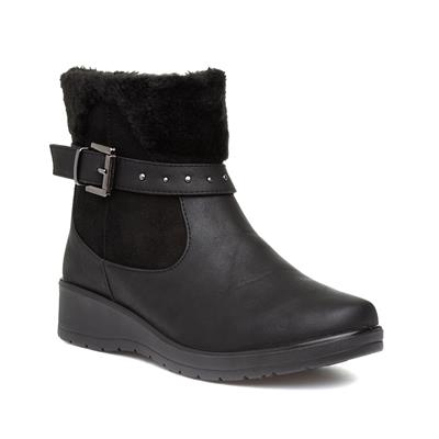 Womens Black Wedge Zip Up Ankle Boot