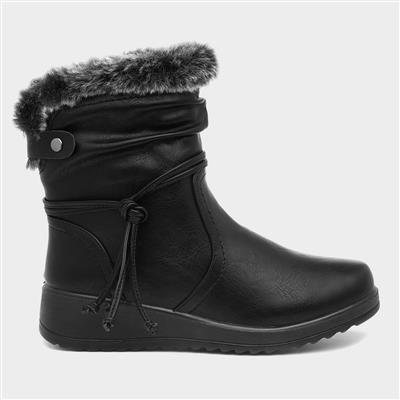 Womens Black Wedge Faux Fur Ankle Boot