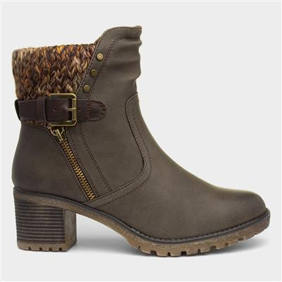 Tracey Womens Khaki Heeled Boot