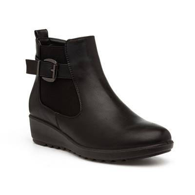Womens Black Wedge Chelsea Boot