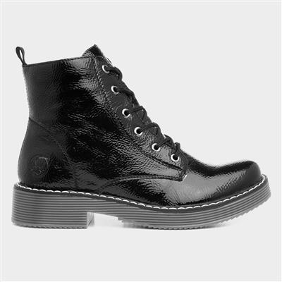 Womens Black Patent Lace Up Boot