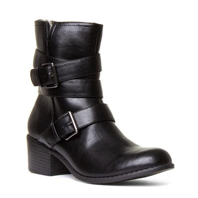 Womens Black Buckle Boot