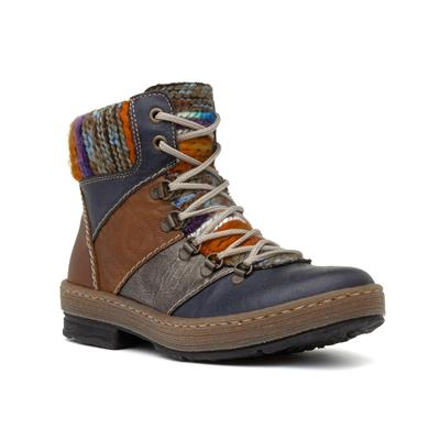 Womens Lace Up Multi Colour Ankle Boot