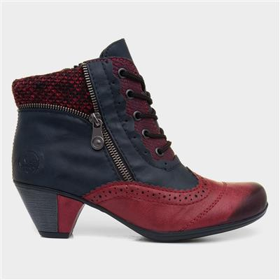 Womens Navy and Burgundy Lace Up Boots