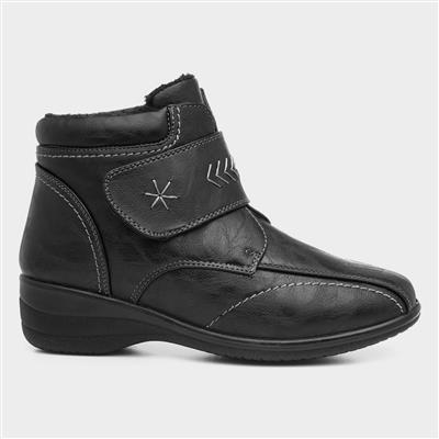 Womens Black Easy Fasten Ankle Boot