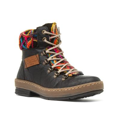 Womens Boots with Multi-Coloured Collar