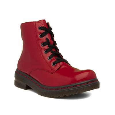 Womens Red Patent Ankle Boot