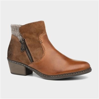Womens Tan Leather Ankle Boot