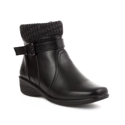 Womens Black Knitted Trim Ankle Boot