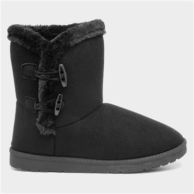 Womens Black Faux Fur Pull On Ankle Boot