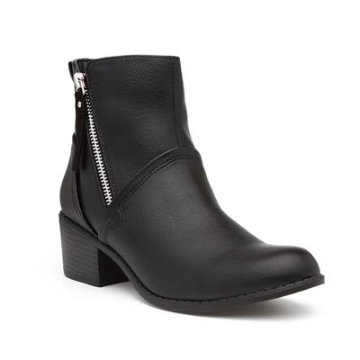 Womens Black Zip Up Ankle Boot