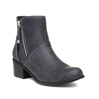 Womens Grey Zip Up Heeled Ankle Boot