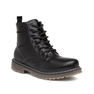 Womens Lace Up Black Chunky Ankle Boot