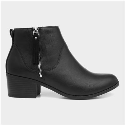 Womens Black Ankle Boot with Zip Trim