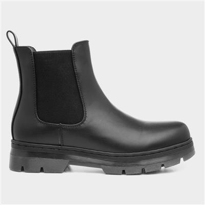 Womens Black Chelsea Boot with Chunky Sole
