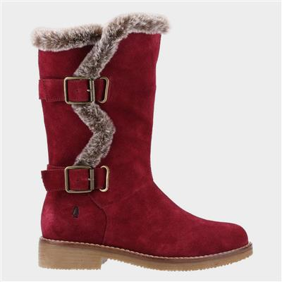 Megan Womens Suede Boot in Red