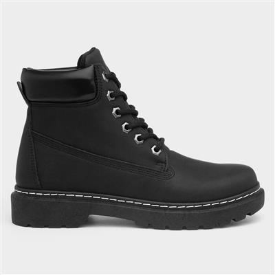 Womens Lace Up Black Ankle Boot