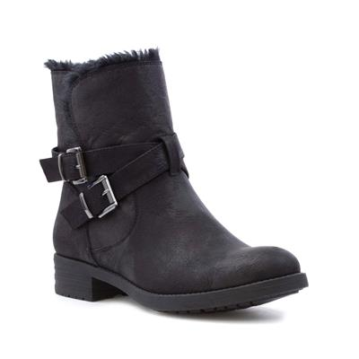 Womens Black Double Buckle Faux Fur Boot