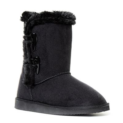 Womens Black Toggle Boot with Faux Fur Lining